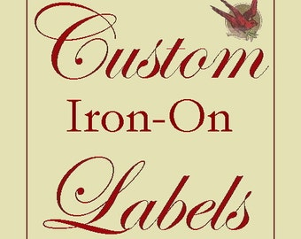 120 Custom Cotton IRON-ON Labels- Fabric Garment Tags with YOUR Logo