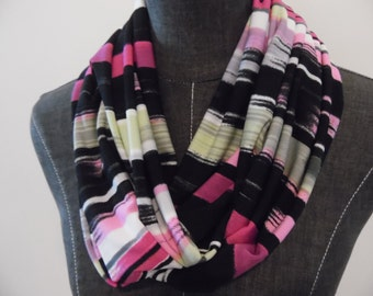 INFINITY Scarf.ITY Knit Black.Pink.Green.White.Grey.Paint Stripe.Print. Matte.For Her.Daughter.Friend.Sister.Aunt