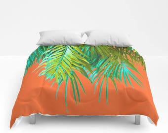 Tropical Palms COMFORTER Twin/TwinXL/Double/Full/Queen/King Tree Lime Green Turquoise Orange Plant Bedding Bed Bedroom Decor Home Living