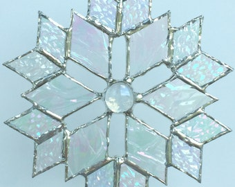 stained glass snowflake suncatcher  (design 5C)