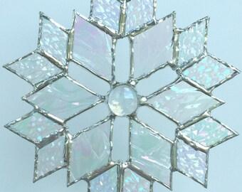 stained glass snowflake suncatcher  (design 5C)