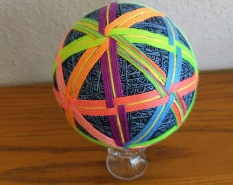 Japanese Temari Ball, decorative ball in neon colors