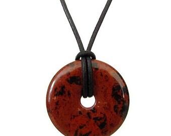 Pendant necklace Chinese pi (mahogany) mahogany Obsidian - 30mm donut