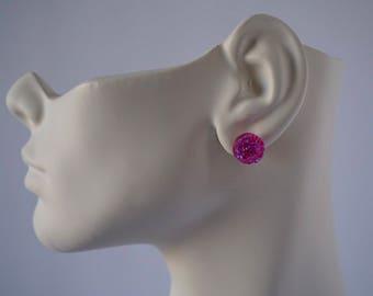 Faux pink Crystal stud earrings