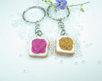 Peanut Butter and Jelly  Friendship keychain 2x, best friend gift, best friend keychain, key chain, friendship gift, PB and J key ring