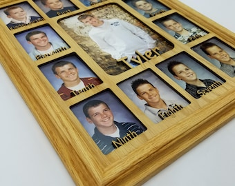 School Years Picture Frame - Personalized With Any Name - 10 Color Choices (Shown with Oak Frame) - Graduation Frame - Spelled Out - 11x14