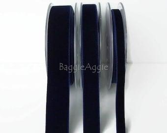 Navy Blue Velvet Ribbon. 9mm, 16mm, 22mm Navy Velvet Ribbon. By the metre. Sewing Ribbon UK, Crafts Ribbon.