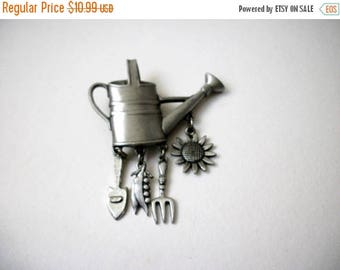 ON SALE Vintage JJ Stamped Silver Tone Garden Lovers Pin 83017