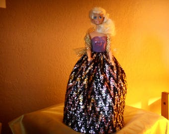 Handmade clothing doll party dress purple and gold in precious fabrics DECLAWED