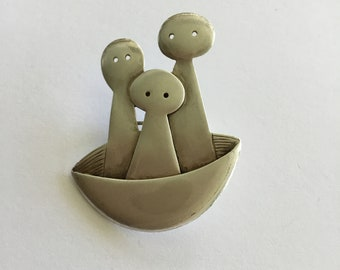Vintage Sterling Silver Three Peas In A Pod Brooch, Signed