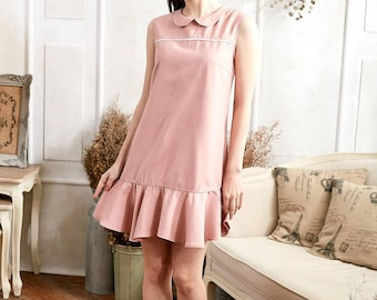 Woman Dress- Pink Ruffle Drop Waist Dress (woman)
