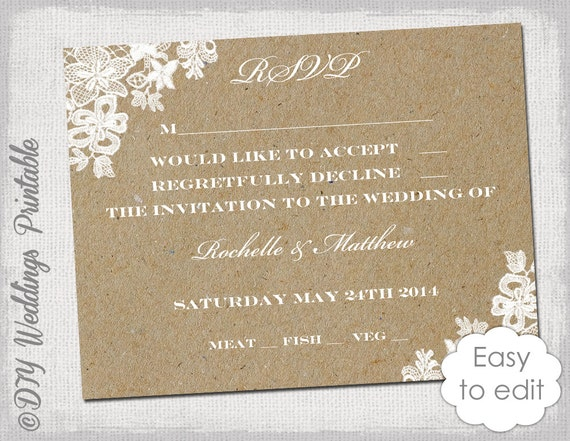 Wedding rsvp template rustic lace printable for Rsvp cards for weddings templates