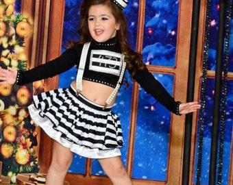 Jailhouse Rock Dress Costume performance Black and White Stripes 4 piece set