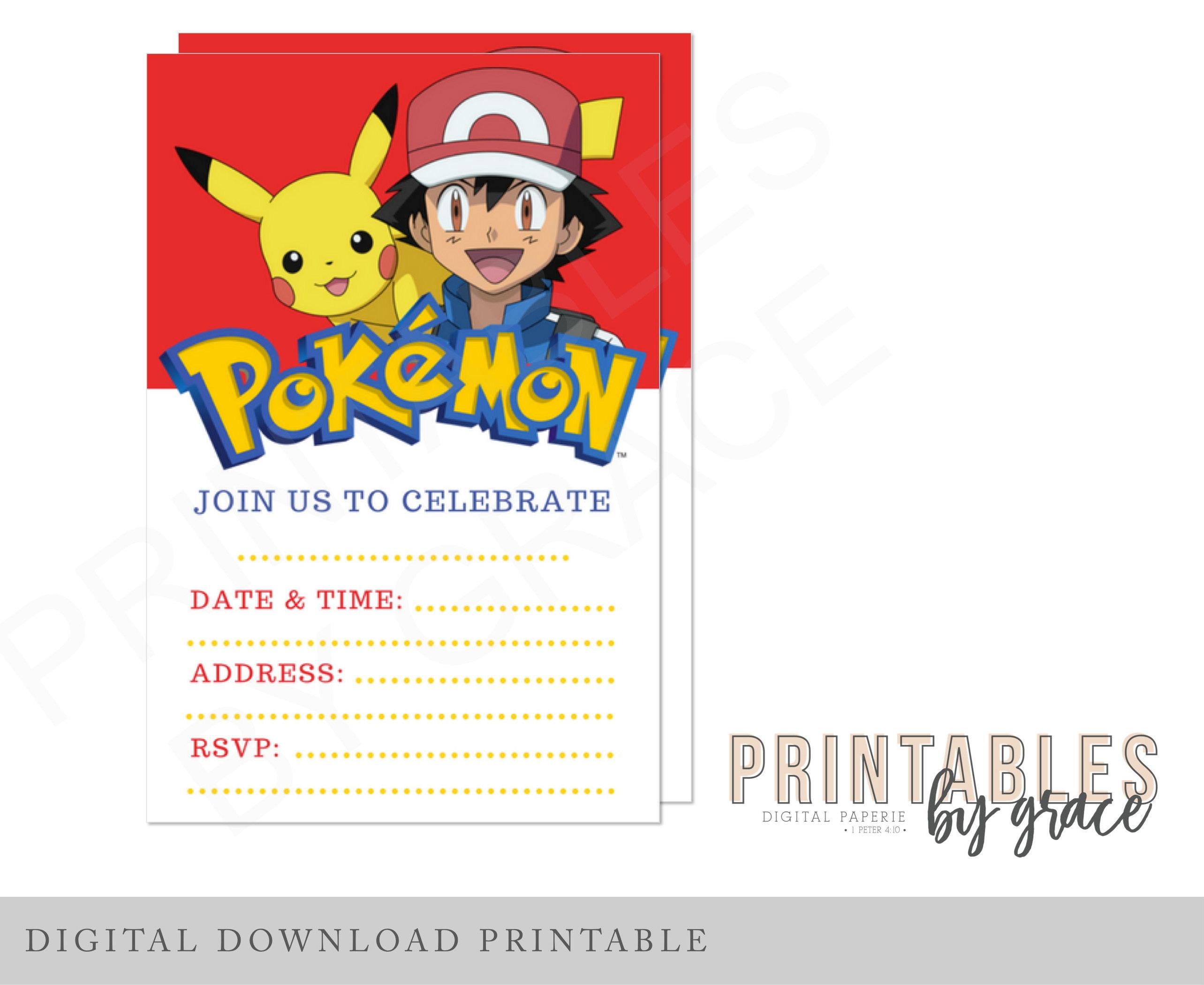 PRINTABLE INVITATION Pokemon Ash Pokeball Pikachu already