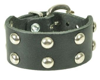 "Leather bracelet ""halbkugel"""