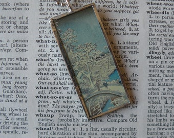 Japanese Woodblock Print - snowy scene with bridge -  2-sided  soldered glass pendant - with choice of necklace or ribbon bookmark