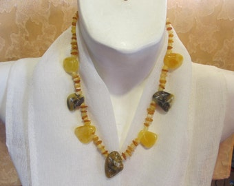 """100% Natural Baltic Amber Necklace 30.2 gr, 19.69""""(50 cm) polished opaque yellow blue landscape free shape raw stone Bernstein Kette"""