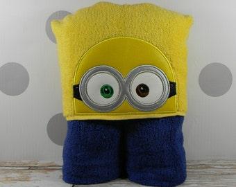 Kids Hooded Towel - Minion Bob - character inspired Bob the Minion Towel for Bath, Beach, or Swimming Pool