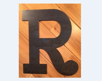 "Large 18"" Raw or Painted Metal Letter R Rustic Metal Sign - Large Metal Letter - Metal Wall Art - Farmhouse sign - Farmhouse Decor"