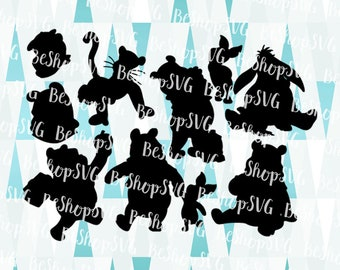 Winnie the Pooh SVG, Donkey Eeyore SVG, Silhouette SVG, Iron on file, Instant download, Disney Clipart, Eps - Dxf - Png - Svg