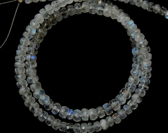 Top Quality Natural Flashy Fire Rainbow Moonstone 3-4 MM Faceted Beads Shape 14 Inch Strand