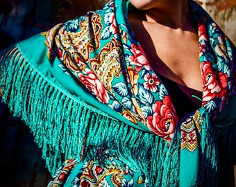 Turquoise shawl 150cmx150cm  (blue / mermaid)