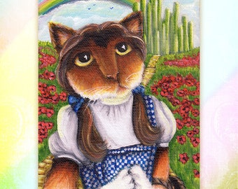 Wizard of Oz, Dorothy, Over the Rainbow, Calico Farm Cat in Emerald City 5x7 Fine Art Print