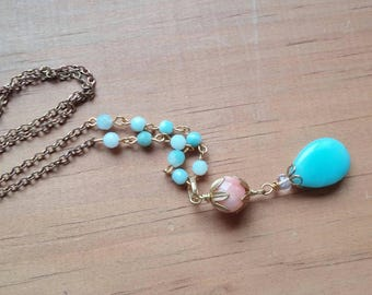 Long pendant necklace. Long gold necklace. Layering necklace. Blue stone necklace. Pink stone necklace. Y necklace.