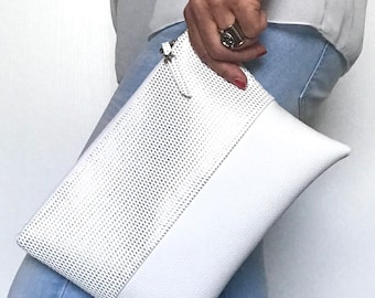 White and silver wallet imitation leather