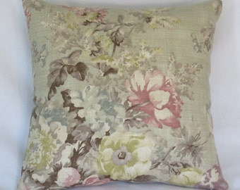 "Watercolor Floral Pillow Cover, Pink, Aqua, Yellow, Taupe, Purple, Tan, 17"" Square Cotton, Romantic Cottage Farmhouse Decor, Ready Ship"