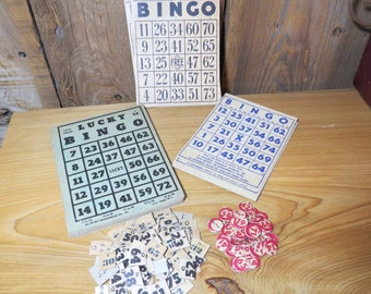 Lot of Vintage Bingo Cards and Paper Numbers- 3 styles of old bingo cards (23)