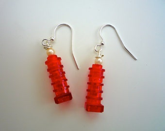 Stunning Red dangle earrings made from Lego® pieces:5 translucent round & 1 square. Finished with pearlesque bead and silver plated hook