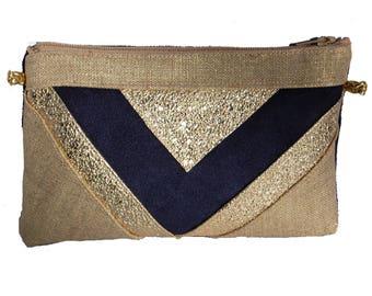 Wedding mini evening clutch bag gold linen, Blue Suede Navy and glitter gold wallet makeup bag - after the beach