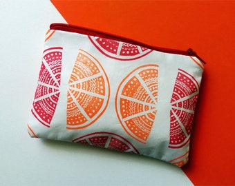 Hand Printed Orange & Grapefruit Coin Purse