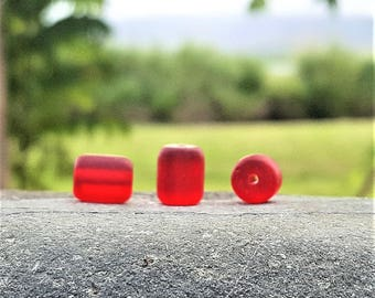 Cultured sea glass barrel nugget beads, Cherry red, 10x8 mm, 17 pc
