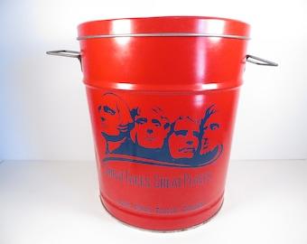 Vintage 1970s South Dakota Popcorn Tin Container - Red Popcorn South Dakota Tin