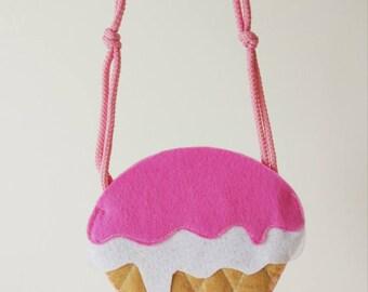 Baby bag,felt bag,ice cream bag,girl bag,girl purse,little girl bag,toddler bag,ice cream purse,baby girl purse,baby girl bag,birthday gift