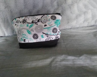 Black and Teal Cosmetic Bag