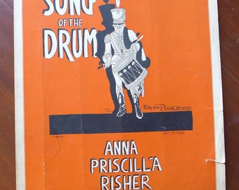 "Song of the Drum, Vintage Sheet Music, Tin Pan Alley, Lyle Justis Illustration, Music ""For the Pianoforte"", Marching Drum"