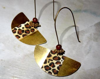 long earrings handmade metal and antique brass collection fabrics. Leopard