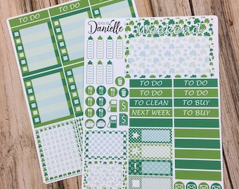 SALE 30% OFF - St Patricks Day Weekly Planner Sticker Kit, Weekly Sticker Kit, Weekly Planner Kit, Weekly Kit, 2 page set of 60