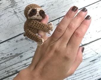 Mini Sloth, Crochet Sloth Stuffed Animal, Sloth Amigurumi, Plush Animal, Made to Order
