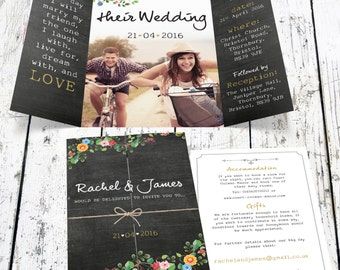 Bespoke Floral Chalkboard Wedding Invitation With Photo