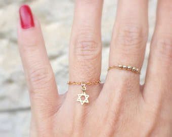 Gold Star of David Ring - Tiny star chain ring - silver or gold david star Ring - Silver Magen David ring, Jewish jewelry, jewish star