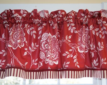 Red White Floral Waverly Trim Floral Toile Valance 17 x 54 Drapery Wt Curtain  Window Treatment