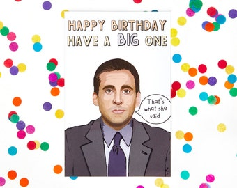 Michael Scott The Office TV Show Birthday Card (Dwight Schrute, Jim Halpert, Funny Birthday Card, Humor Card) (100% Recycled Paper)