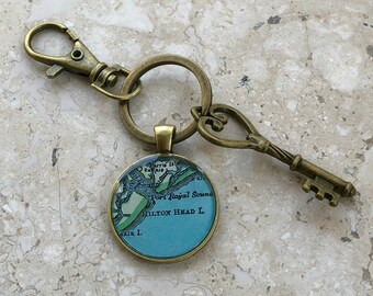 Hilton Head  Keychain Bronze with Ring Swivel Clasp and Key South Carolina Vintage Map Gift for Co-worker or Boss