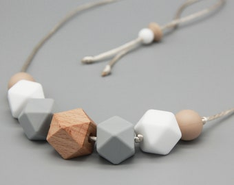 """Necklace/Still Chain """"Thelma"""" Silicone Wood Jewelry"""