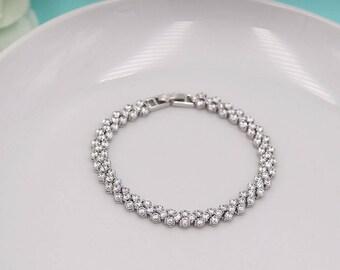 Wedding Bracelet Silver, Crystal Wedding Bracelet, Bracelet for Brides, Bridal Bracelet Jewelry, Aleah Crystal Bracelet