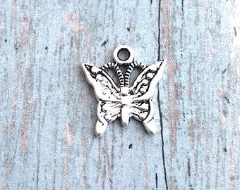 10 Small Butterfly charms antique silver tone (1 sided) - silver butterfly pendants, insect charms, nature charms, papillon charms, S6